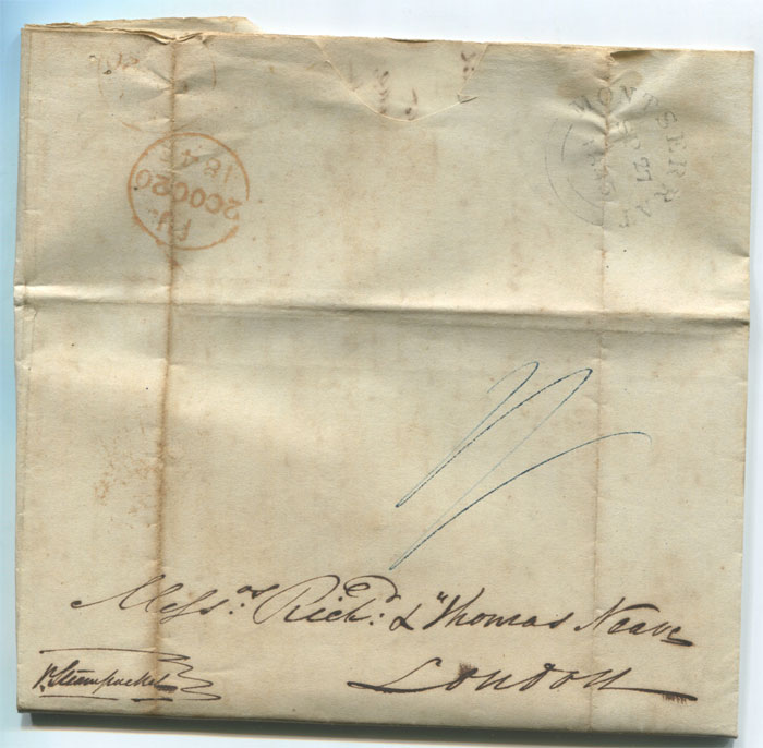 1845 (26 Sep) MONTSERRAT double arc cds postmark on EL to London.