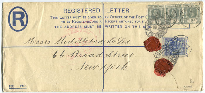 1903 St Kitts Nevis 2d postal stationery registered envelope