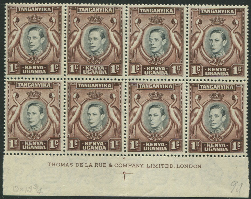 1938-54 K.U.T. 1c (SG131a) imprint block of 8,
