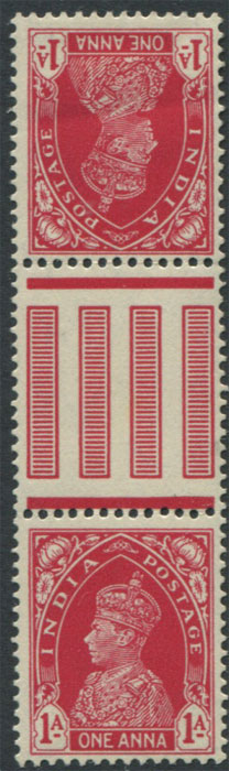 1937-40 India 1a tete bêche inter-paneau pair (SG250a), mint, mtd. on one.