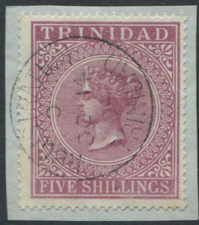 1883-94 Trinidad 5/- (SG113), on piece, v.f.u.