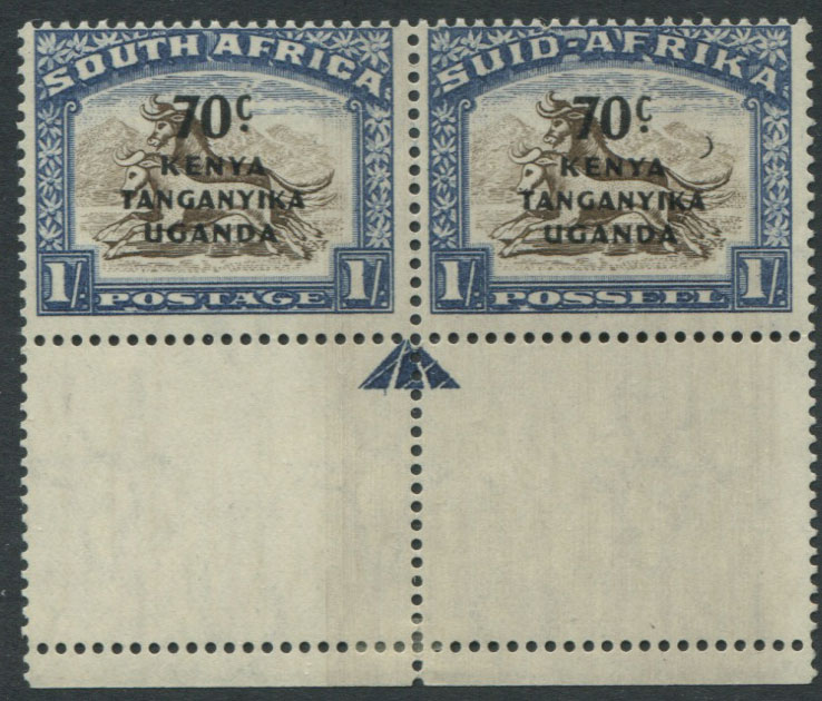 1941-2 K.U.T. 70c on 1/- pair, one with Crescent moon flaw (SG154a),