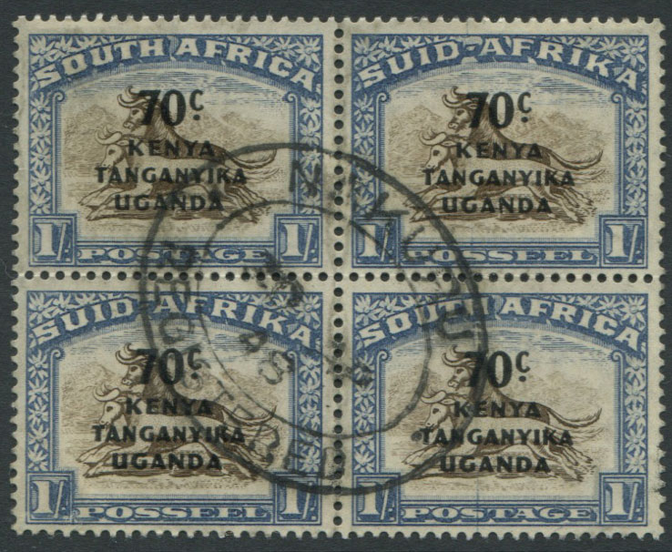 1941-2 K.U.T. 70c on 1/- block of 4 (SG154),