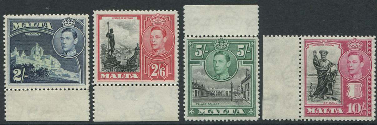 1938-43 Malta 2/- to 10/- high values (SG228-231), u.m.