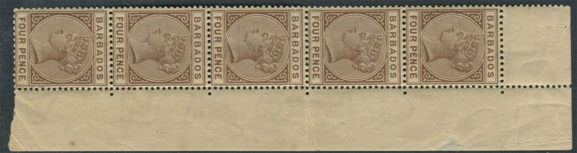 1882-86 Barbados 4d pale brown (SG98),