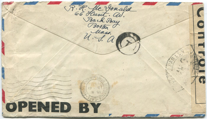 1941 (27 Oct) airmail cover with Bermuda and France censor tapes.