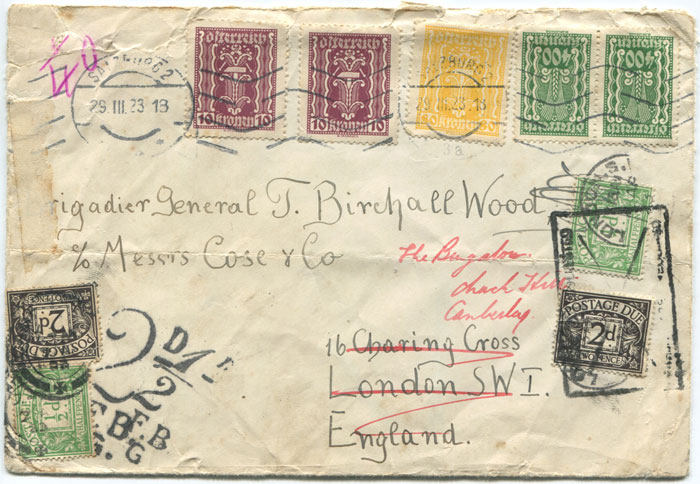 1923 London Foreign Branch 2d and ½d postage due handstamps on cover from Austria.