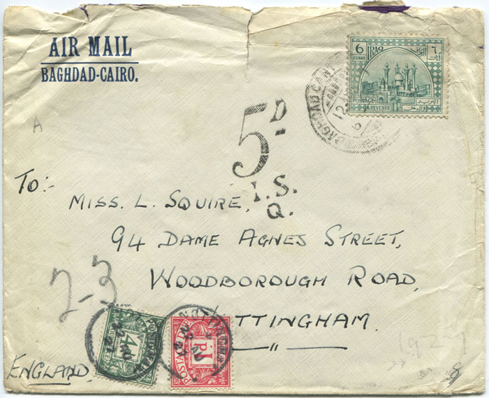 1927 cover from Iraq with GB 1d and 4d postage dues