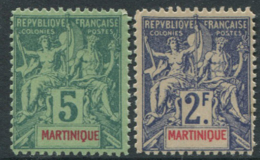 1892-1906 Martinique Peace and Commerce 5c and 2Fr forgeries.
