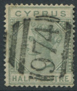 1892-4 Cyprus ½pi (SG31), with 974 obliterator postmark