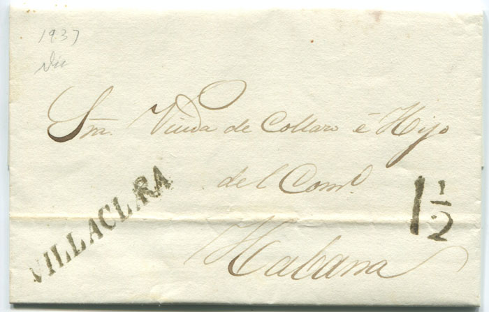 1837 old Cuba entire letter with fine straight line VILLACLARA