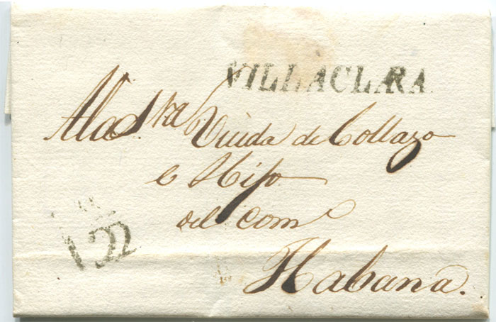 1837 old Cuban entire letter with fine straight line VILLACLARA