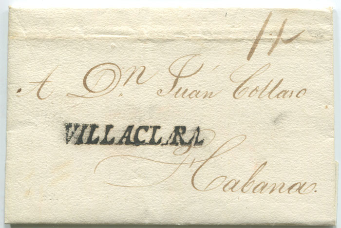 1832 old Cuba entire letter with fine straight line VILLACLARA