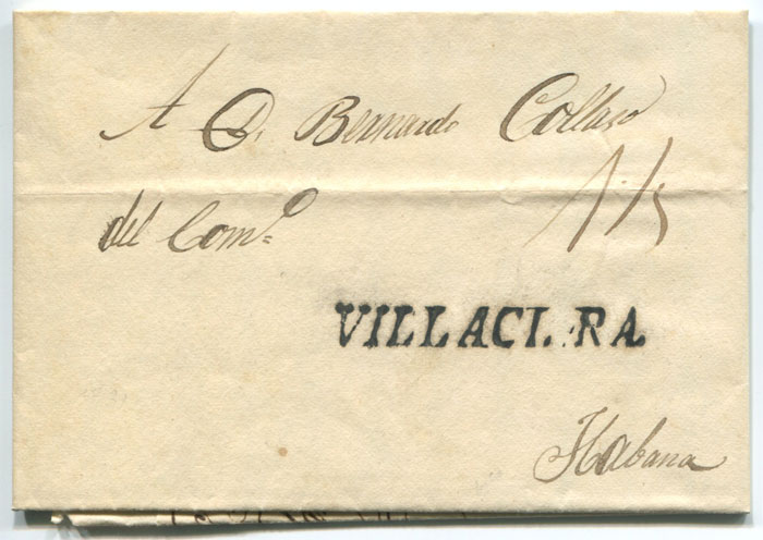 1831 old Cuba entire letter with fine straight line VILLACLARA