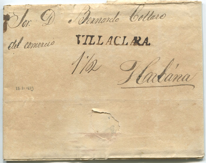 1829 old Cuba entire letter with fine straight line VILLACLARA