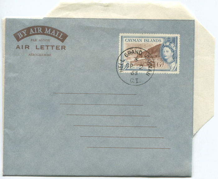 1958 Cayman Islands 6d postal stationery airletter