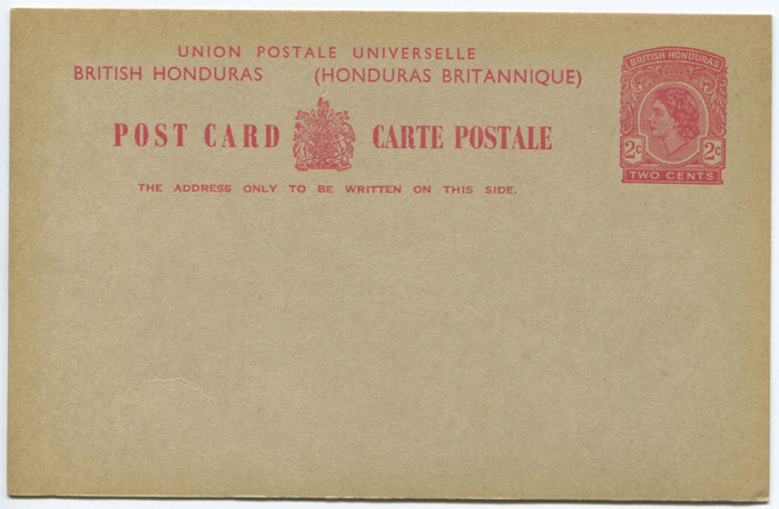 1955 British Honduras 2c postal stationery postal card