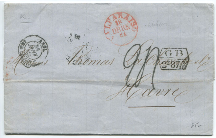 1862 (18 Dec) VALPARAISO cds in red on EL to France.