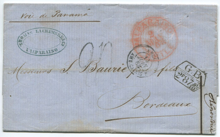 1863 (2 May) VALPARAISO CHILE double circle ds in red on EL to France.