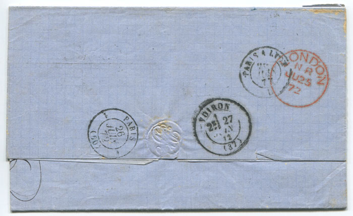 1872 (7 Jun) boxed GB 3F 60c accountancy handstamp on EL from Cuba to France.