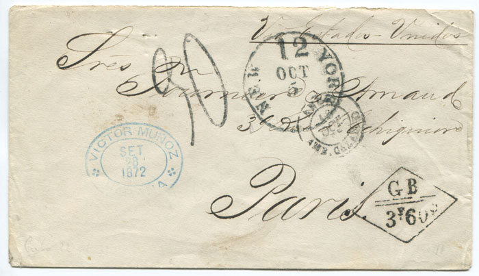 1872 (28 Sep) boxed GB 3F 60c accountancy handstamp on cover from Cuba to France.