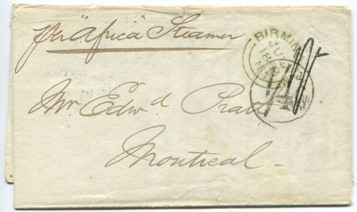 1853 (17 Jun) Canada 1/4 Currency applied on arrival at Quebec (Arnell A-5 handstamp) on EL from Birmingham.