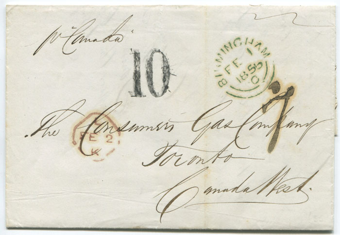 1855 (1 Feb) Canada 10d Currency (Arnell D-23), 7d Stg accountancy (Arnell F-3) on EL from Birmingham.