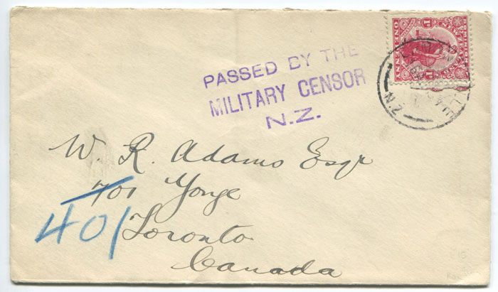 1916 (circa) New Zealand PASSED BY THE MILITARY CENSOR N.Z. 3 line handstamp on cover to Canada.