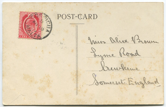 1909 COSPICUA MALTA cds on postcard to England.