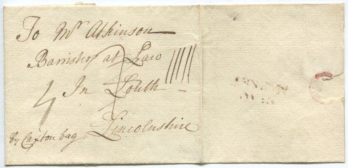 1760 (circa) NEW/MARKET handstamp on cover to Louth