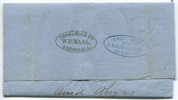 1868 (July) Forwarded by W.P. Maal Aspinwall oval handstamp