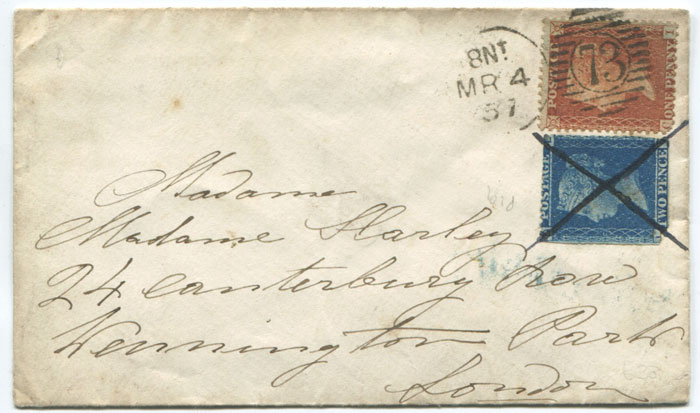 1857 re-used 2d cancelled in ink below 1d Stars with London duplex.