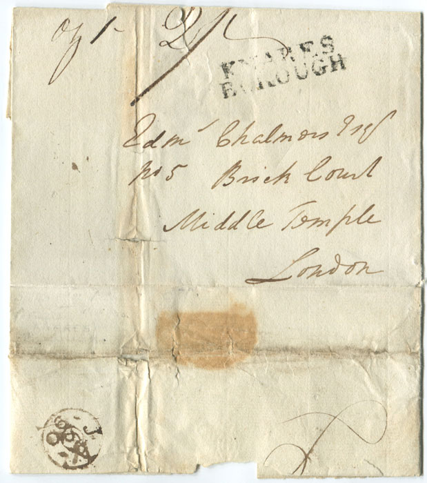 1790 (Jan) two line KNARESBOROUGH on cover to London