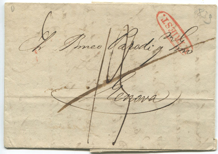 1833 (4 Oct) V. TRIEST. in oval on cover to Genoa.