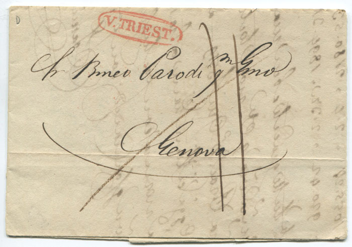 1833 (16 Sep) V. TRIEST. in oval on cover to Genoa.