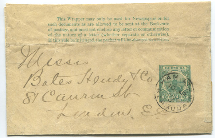 1903 Bermuda ½d postal stationery wrapper
