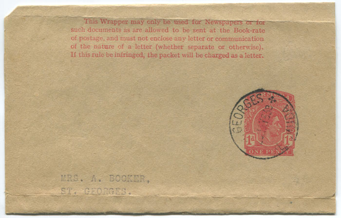 1937 Bermuda 1d red postal stationery wrapper