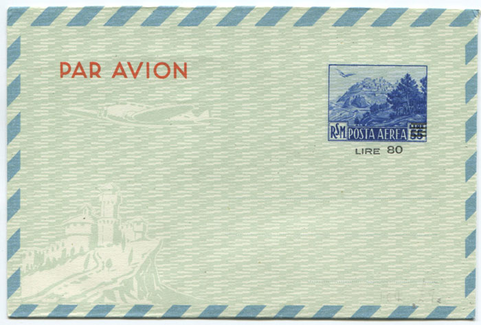 1951 San Marino 80 lire on 55 lire postal stationery air letter