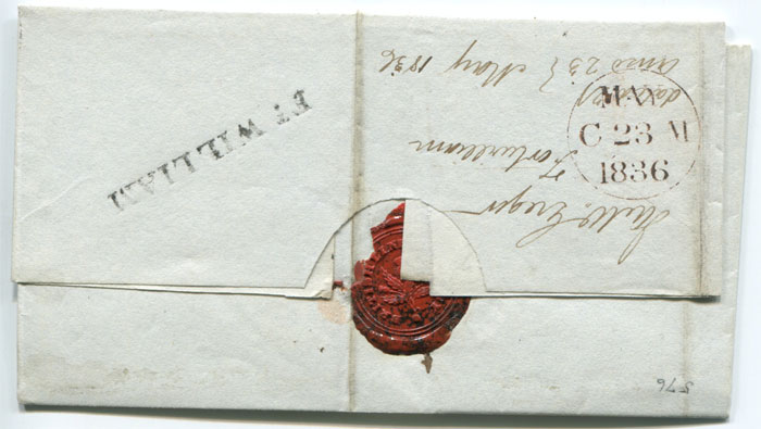 1836 (21 May) Scotland, FT WILLIAM (Auckland IV1 46) on cover to Edinburgh.