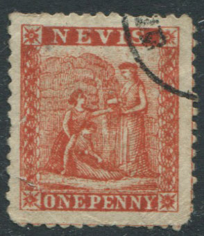 1862 Nevis 1d crude litho forgery.