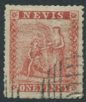 1862 Nevis 1d crude litho forgery with rough perfs.