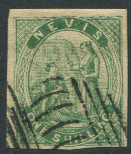 1862 Nevis crude litho forgery of 1/- green Medicinal Spring,