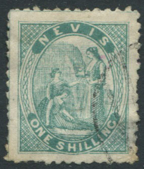 1862 Nevis crude litho forgery of 1/- blue green Medicinal Spring,
