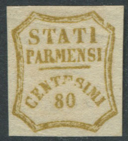 1859 Palma 80c olive yellow, a forgery by Sperati.