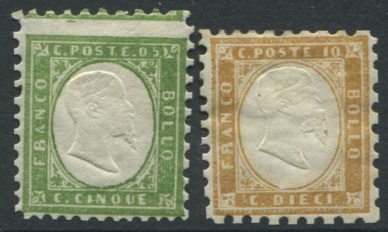 1855-63 Sardinia 5c and 10c remainders with forged perforations added.