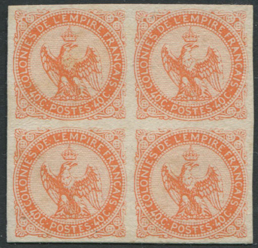 1859-65 French Colonies General Issues, Imperial Eagle40c orange plate proof