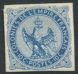 1859-65 French Colonies General Issues, Imperial Eagle10c blue plate proof