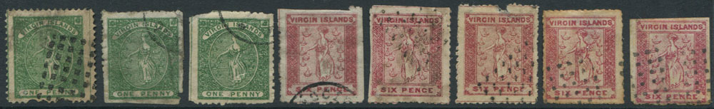 1866 Virgin Islands 1d green and 6d rose a selection of forgeries.