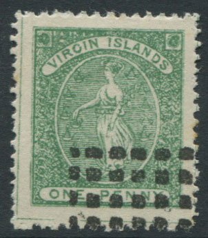 1866 Virgin Islands 1d green forgery in blue green
