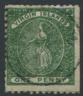 1866 Virgin Islands 1d green forgery in deep green